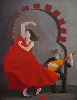Flamenco dancer - painting by Arben Sela.